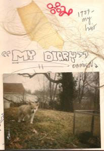 This page from the author's diary includes a photo of Damien as a puppy.