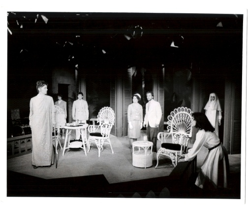From left to right, Nancy Kaiser, Stacy Lynn Hein, David Shatraw, Lori Gunty, Hal Katzman, Nancy Caronia, and Kym Grethen in Tennessee Williams' Suddenly, Last Summer directed by Richard F. Mason.